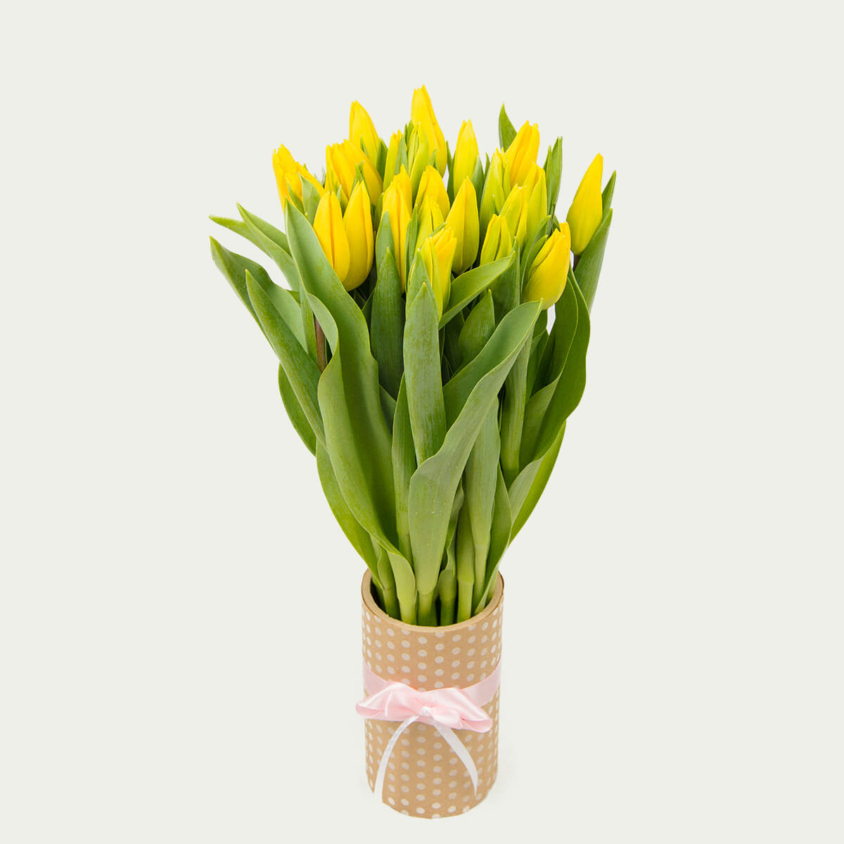 """Bouquet of 25 Yellow Tulips """"Sunny"""""""