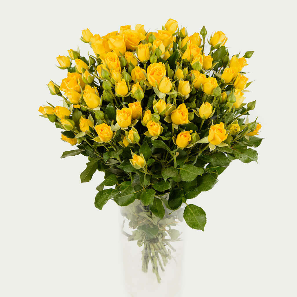 "Bouquet ""Bunch of 19 branched roses of yellow color ""Warm Rays"""