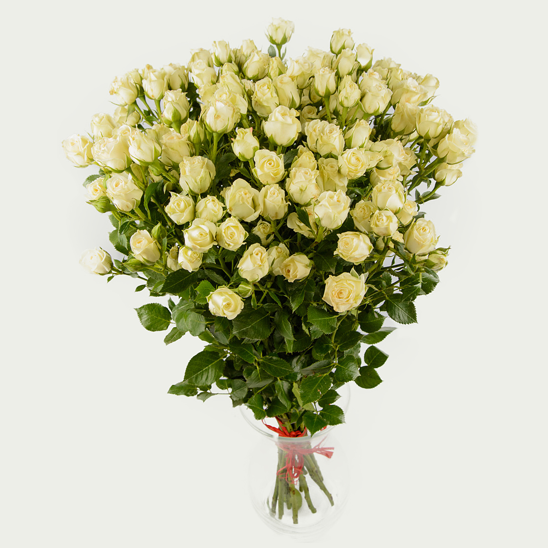 "Bunch of 19 branched white roses ""White Garden"""