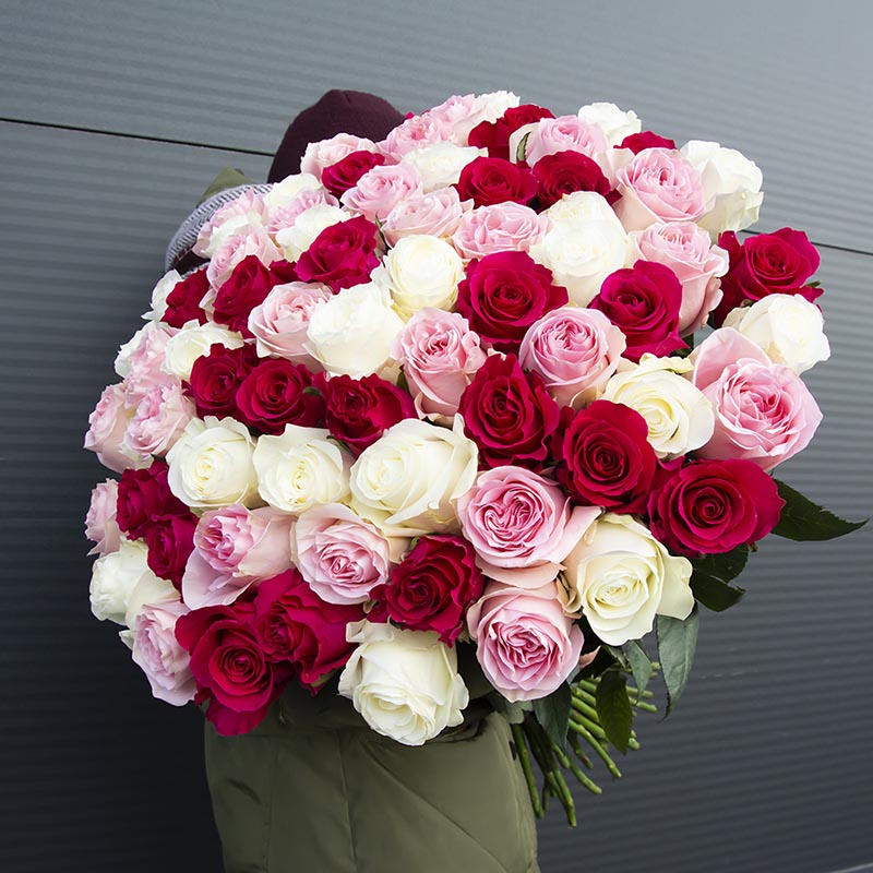 """Bouquet """"Bunch of 75 roses """"Bright Trio"""""""
