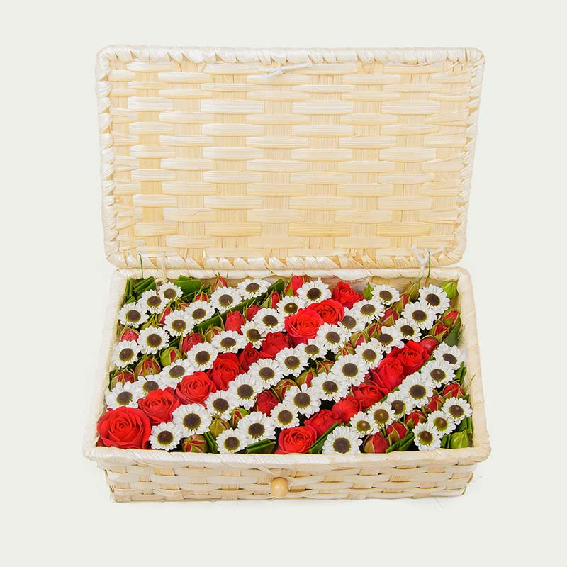 """Wattled Box of Flowers """"Colorful Field"""""""